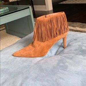 Sam Edelman Suede Brown Fringe Heeled Booties